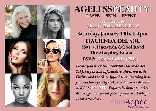 Ageless Beauty Laser Skin Event @ Hacienda del Sol on January 13, 2018, 1-3pm