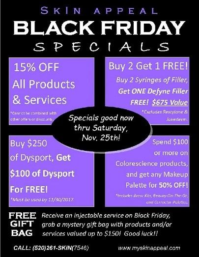 FREE Filler, FREE Dysport, 15% Off Products & Services, and More! Black Friday all week!