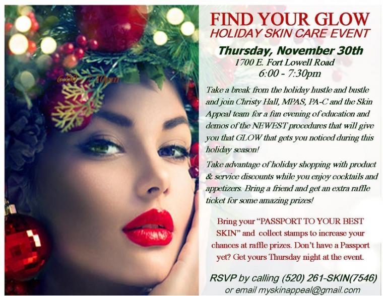 Holiday Skin Care Event this Thursday, November 30th, 6:00-7:30pm