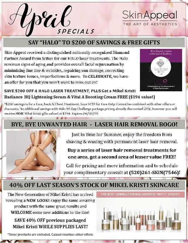 April Specials Include Saving $200 On HALO Laser Treatments, BOGO On Laser Hair Removal