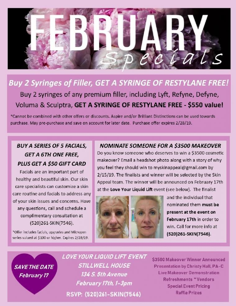 February - Free Restylane, Free Facials, $3500 Makeover Contest & More