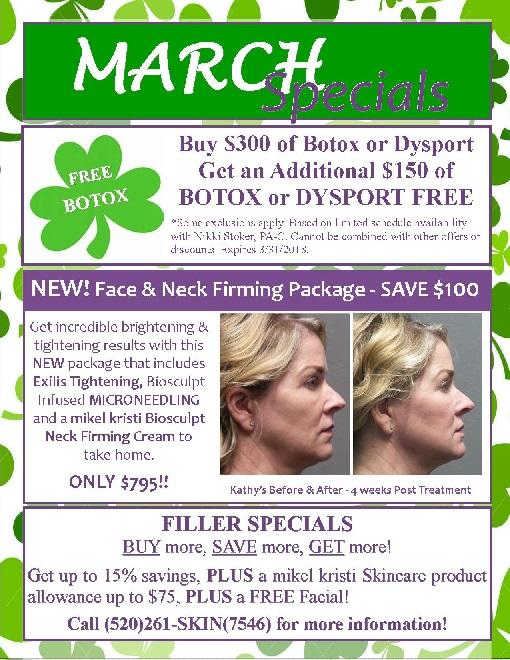 Free Botox & Dysport, Microneedling and Skin Tightening Package, Filler Specials & More